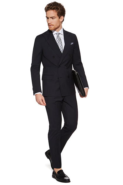 DOUBLE-BREASTED SUIT IN STRETCH NATURAL WOOL, Navy Blue, medium