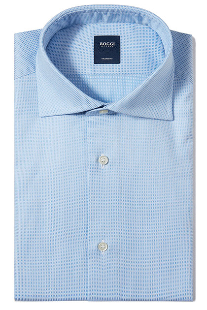 CAMICIA IN COTONE OPERATO COLLO WINDSOR TAILORED FIT, Azzurro, medium