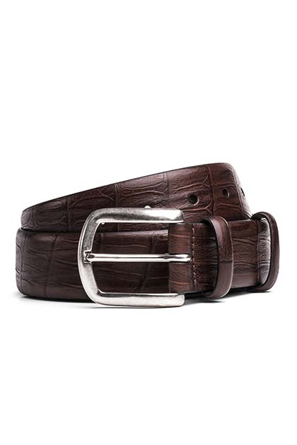 CROCODILE PRINT LEATHER BELT, Moro, medium