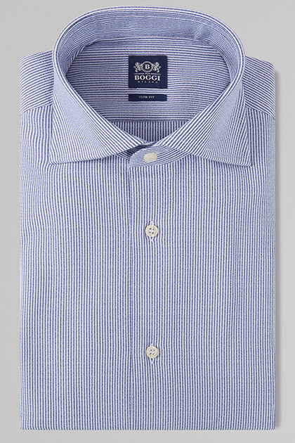 CAMICIA A RIGHE BLU NAVY COLLO WINDSOR SLIM FIT, , medium