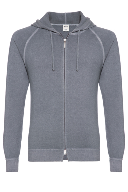 FULL ZIP WOOL AND CASHMERE VINTAGE STYLE HOODED JUMPER CUSTOM FIT - MADE IN ITALY, Grey, medium