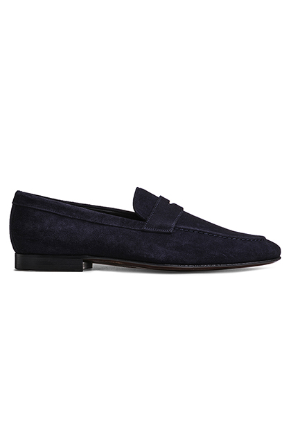 SLIP-ON SUEDE MOCCASINS, Blue, medium