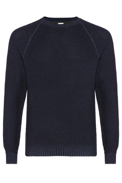 STONEWASH SEED STITCH ROUND-NECKED JUMPER CUSTOM FIT, Navy Blue, medium