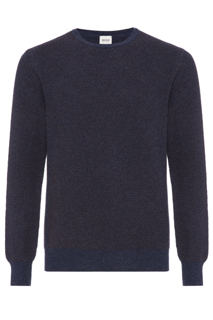 JACQUARD WOOL ROUND-NECKED WOVEN STITCH JUMPER CUSTOM FIT - MADE IN ITALY, Dark Brown, medium