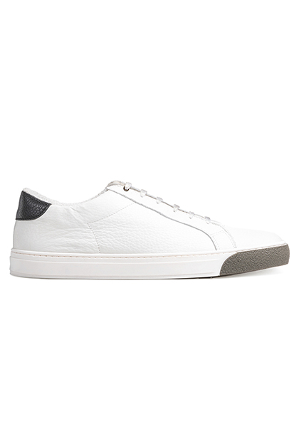 HAMMERED LEATHER TRAINERS, White, medium