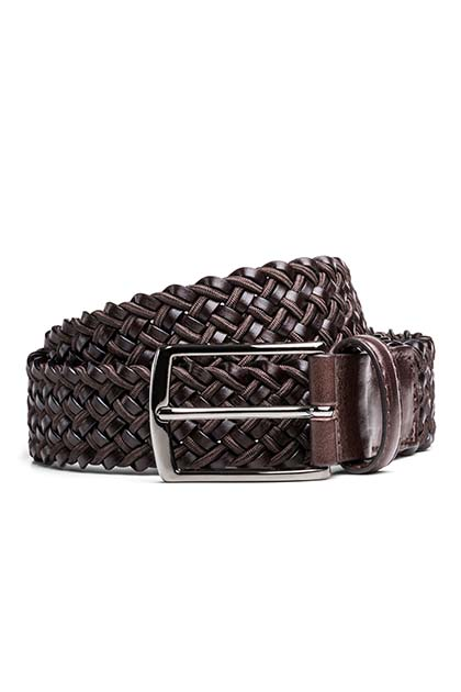WOVEN LEATHER AND COTTON BELT, Dark Brown, medium