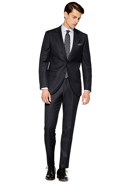 BIRDSEYE SUIT - SUPER 120 WOOL - MADE IN ITALY, Blue, medium