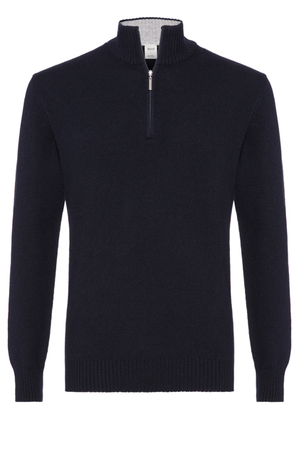 SUPERGEELONG WOOL ZIP POLO NECK CLASSIC FIT - MADE IN ITALY, Navy Blue, medium