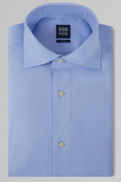 CAMICIA AZZURRA COLLO WINDSOR SLIM FIT, , medium