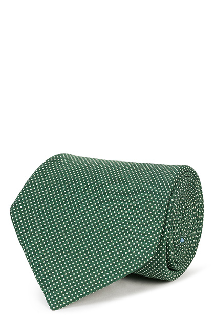 5-FOLD POLKA DOT PRINTED SILK TIE, Green, medium