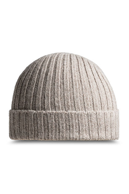 RIBBED PURE CASHMERE HAT - MADE IN ITALY, Taupe (Turtle-Dove), medium