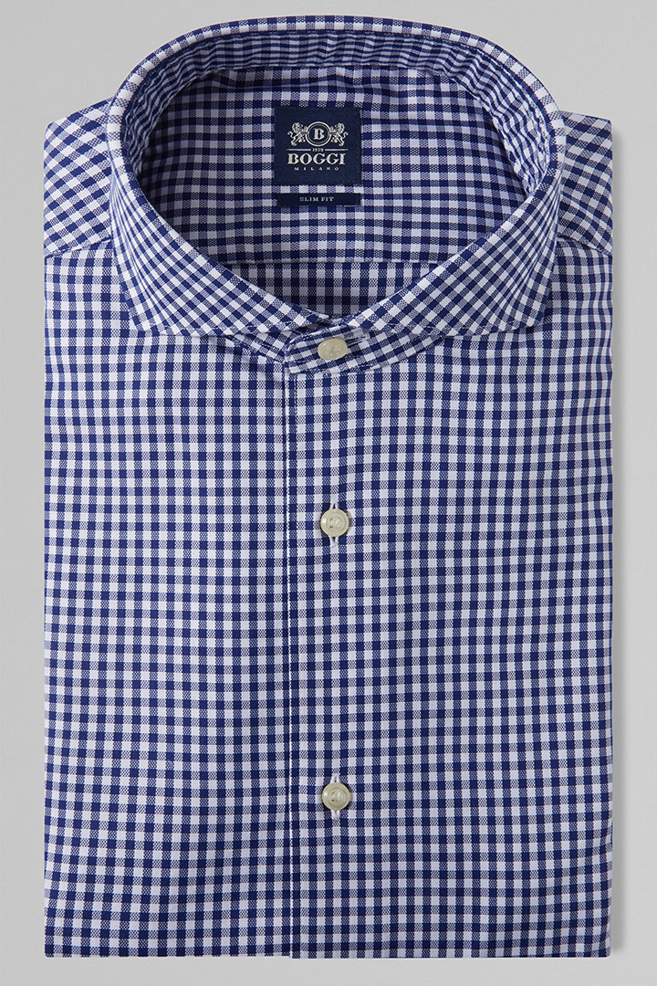 SLIM FIT BLUE CHECKED SHIRT WITH NAPLES COLLAR, BLUE, large