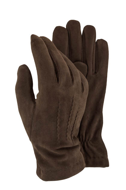 STRETCH SUEDE GLOVES - MADE IN ITALY, Brown, medium