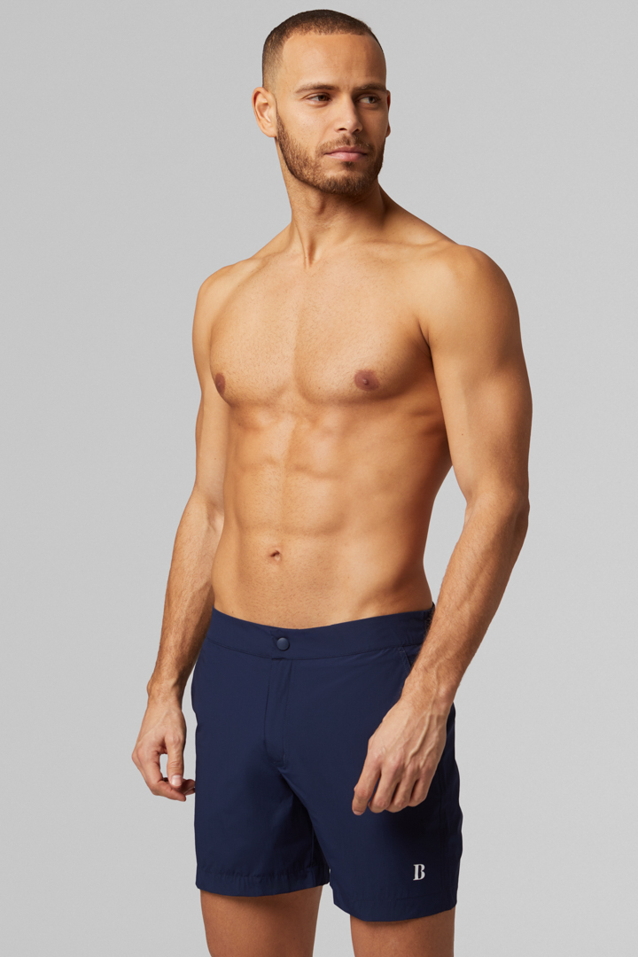 BADEHOSE NAVY AUS STRETCH-NYLON, MARINEBLAU, large