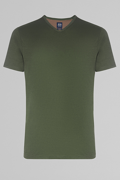 COTTON & LINEN V-NECK T-SHIRT, MILITARY GREEN, medium