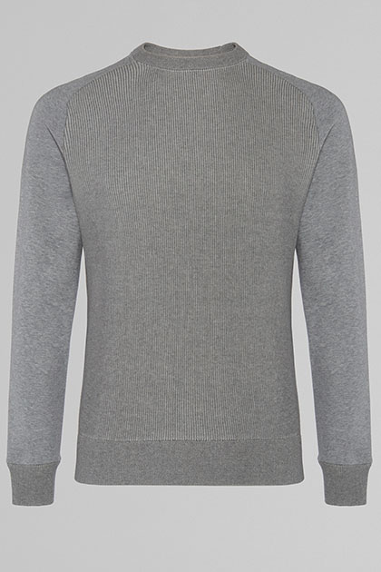 SWEAT COL ROND EN TRICOT, GRIS, medium