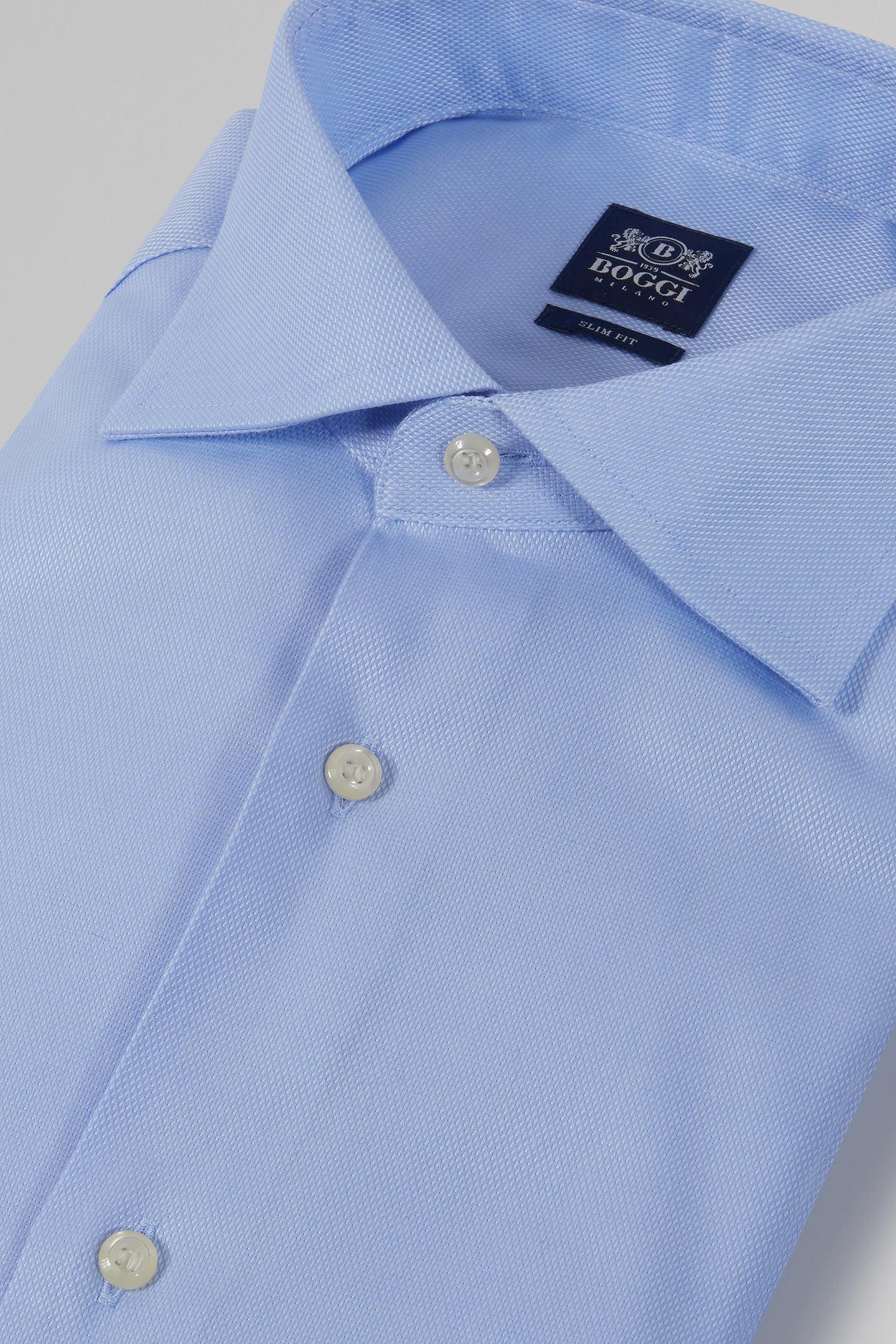Slim Fit Blue Shirt With Windsor Collar Boggi