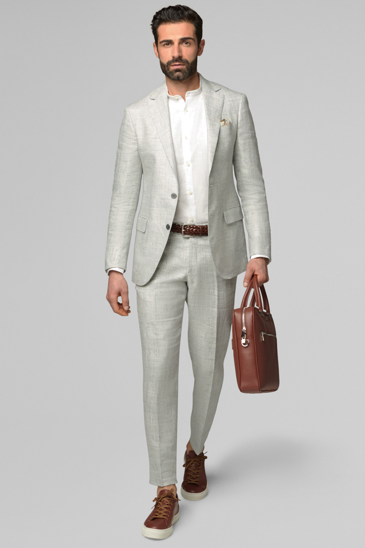LIGHT GREY PURE LINEN MANTOVA SUIT, LIGHT GREY, large