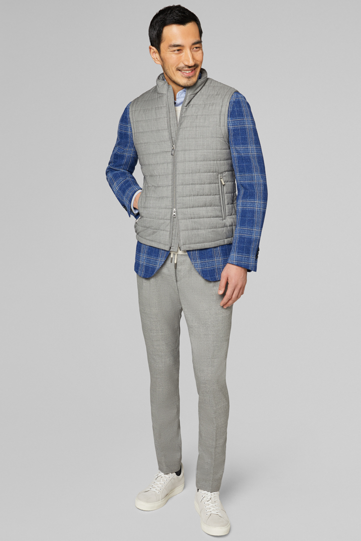 SLEEVELESS JACKET WITH WOOL LINING, LIGHT GREY, large