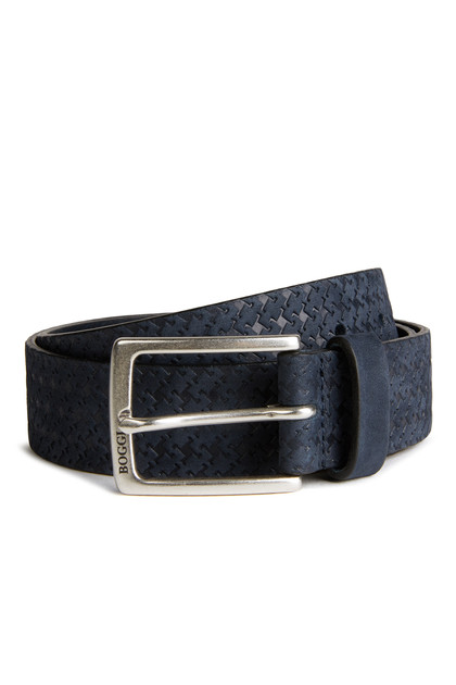 LASER ENGRAVED LEATHER BELT, Navy Blue, medium