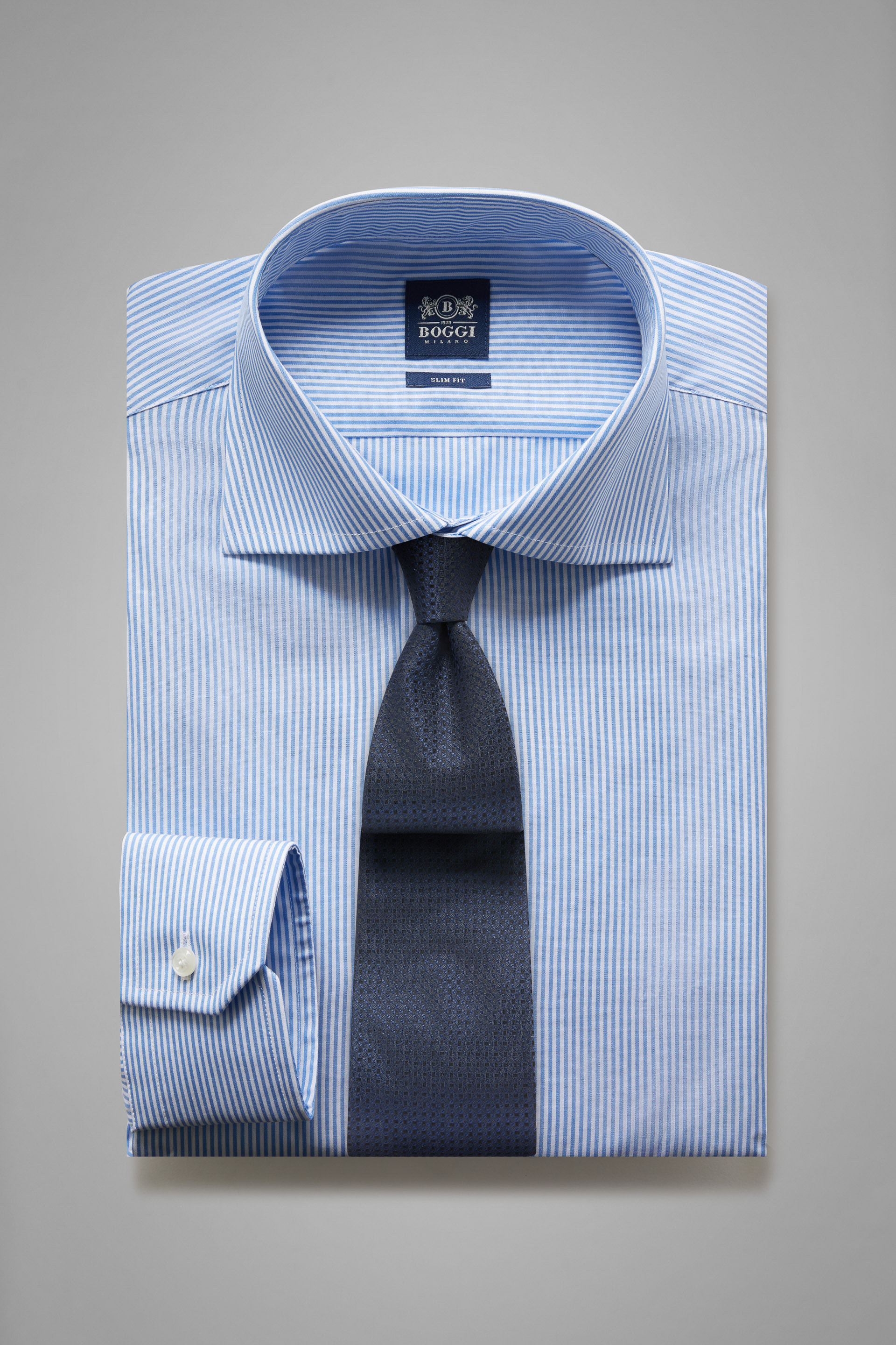 Camicia A Righe Azzurre Collo Windsor Slim Fit, , hi-res