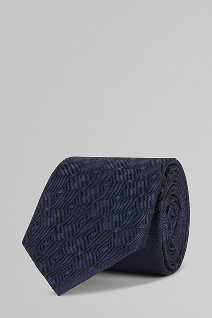 CRAVATTA IN SETA JACQUARD , NAVY, medium