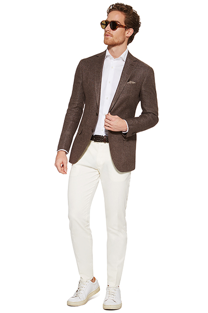 STRUCTURED JACKET IN A LINEN/WOOL BLEND, Hazelnut, medium