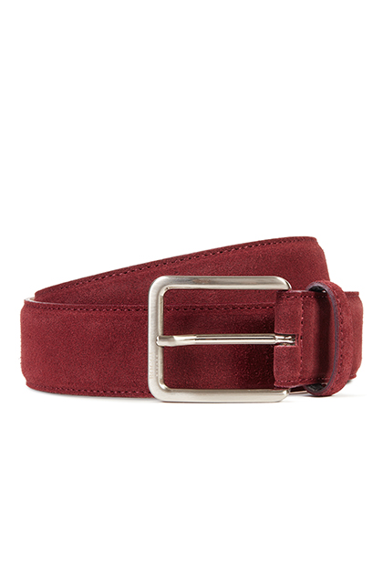 BURGUNDY SUEDE BELT, Burgundy, medium