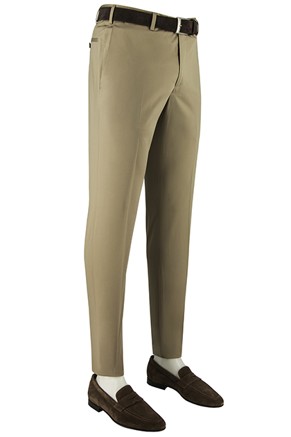 STRETCH COTTON SATIN TROUSERS, Beige, medium