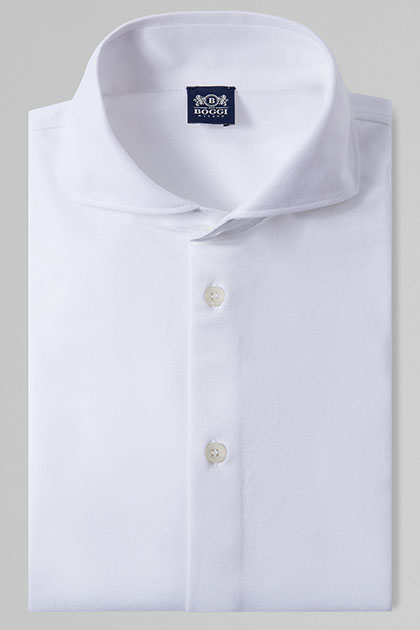 POLO CAMICIA BIANCA COLLO APERTO, , medium