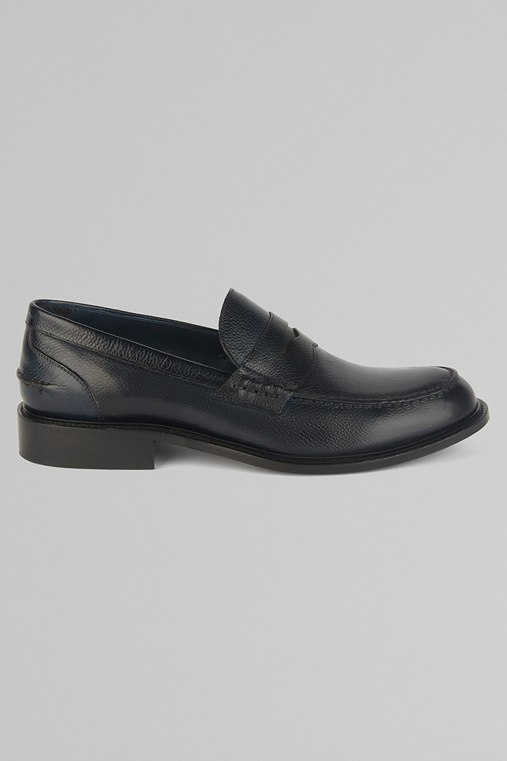 TANNED PENNY LOAFERS, NAVY BLUE, large