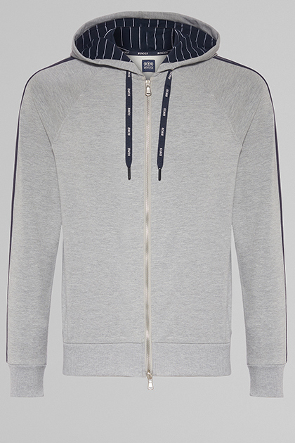 SWEAT FULL ZIP À CAPUCHE, GRIS, medium