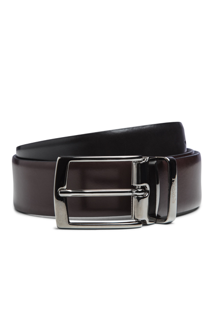 REVERSIBLE GLOSS LEATHER BELT, Black - Dark brown, medium