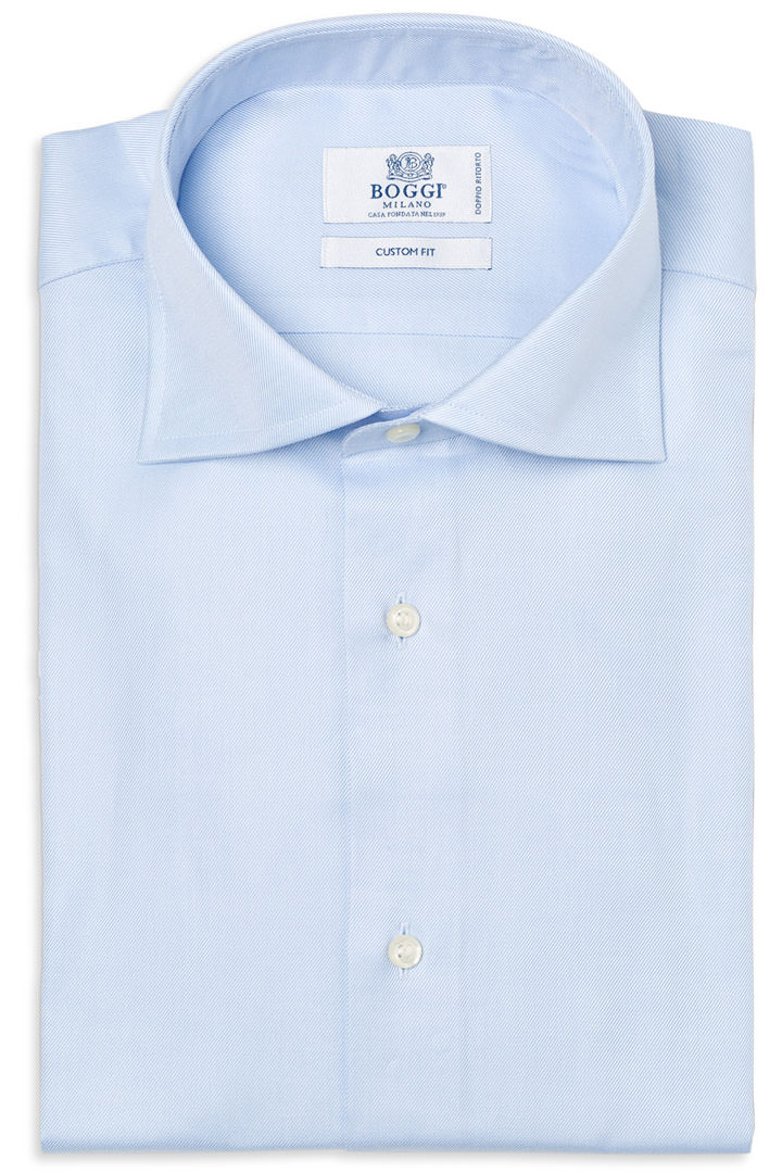 Camisa Slim Fit Celeste Con Cuello Windsor, Azul claro, large