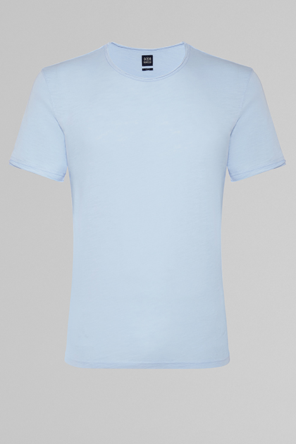 FLAMED COTTON JERSEY T-SHIRT, LIGHT BLUE, medium