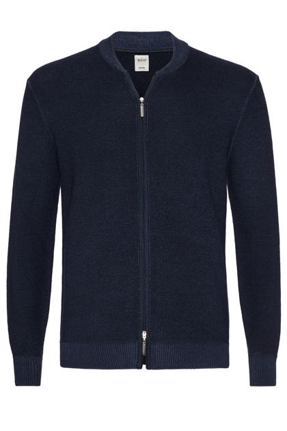 FULL ZIP STONEWASH MERINO HONEYCOMB JUMPER CUSTOM FIT, Navy Blue, medium