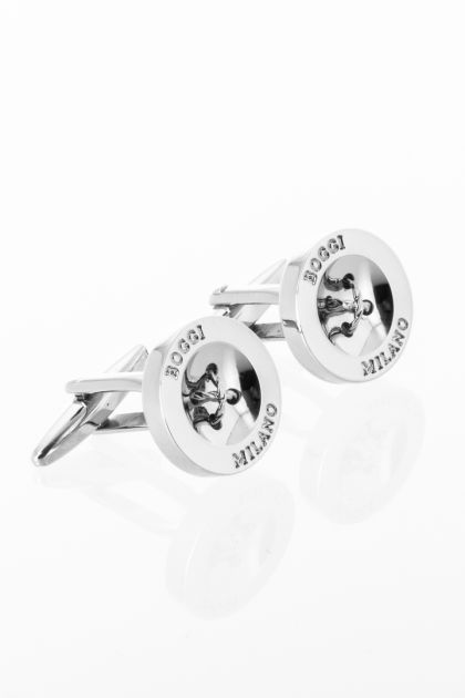 SILVER CUFFLINKS WITH LOGO, Silver, medium