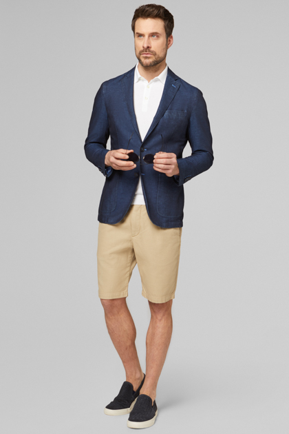 BLAZER NAVY BRESCIA IN COTONE E LINO, , medium