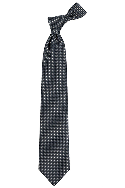 SILK AND COTTON MICRO STRUCTURED TIE - MADE IN ITALY, Grey, medium