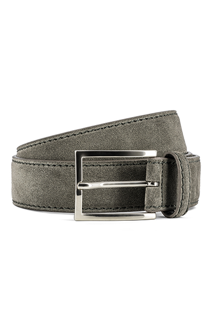 SUEDE BELT - MADE IN ITALY, Taupe (Turtle-Dove), medium
