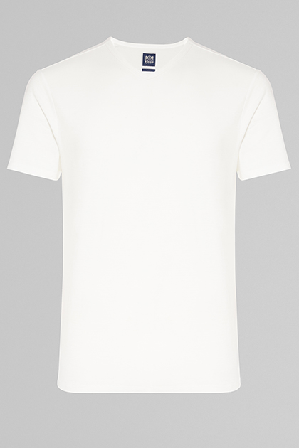 COTTON & LINEN V-NECK T-SHIRT, WHITE, medium