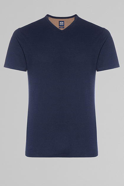 COTTON & LINEN V-NECK T-SHIRT, NAVY BLUE, medium