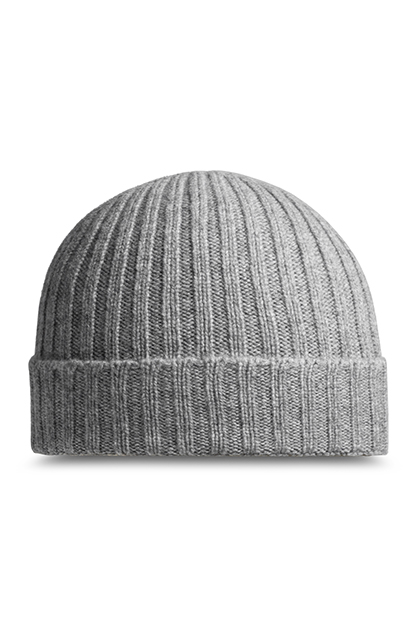 RIBBED PURE CASHMERE HAT - MADE IN ITALY, Grey, medium