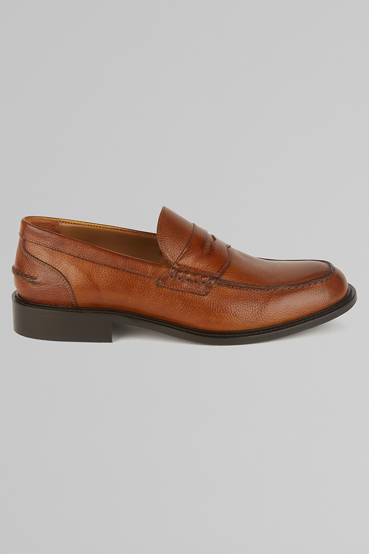 TANNED PENNY LOAFERS, LEATHER BROWN, large