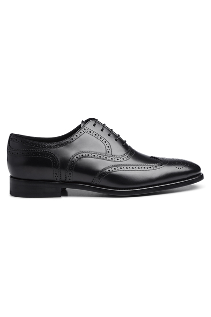 BLACK BROGUED LEATHER OXFORD, Black, medium