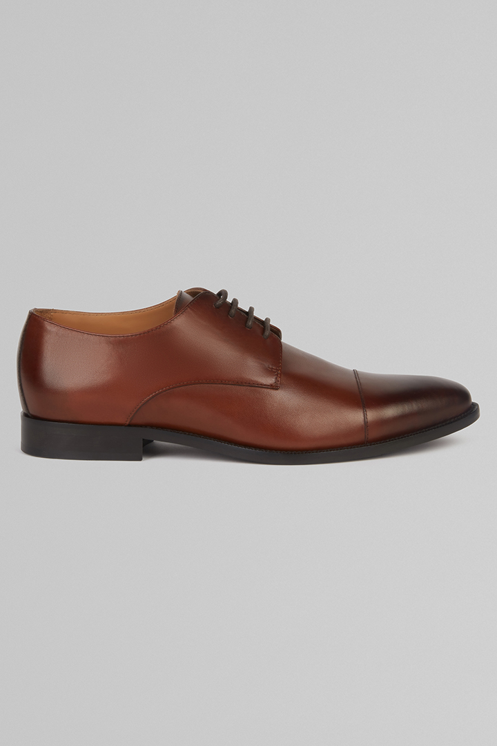 DERBY SHOES WITH TANNED TOE CAP, LEATHER BROWN, large