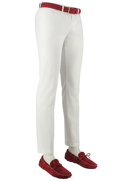 WASHED COTTON/TENCEL PANAMA TROUSERS, White, medium