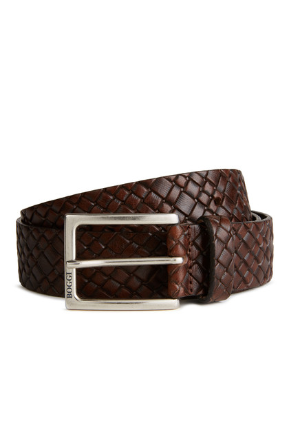 GEOMETRIC PRINTED LEATHER BELT, Dark Brown, medium