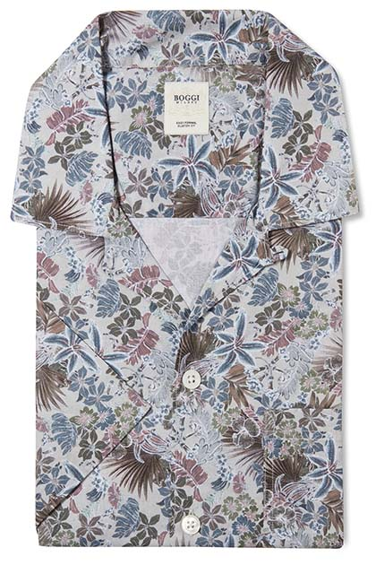 CUSTOM FIT PRINTED COTTON SHIRT WITH CAMP COLLAR, Beige, medium
