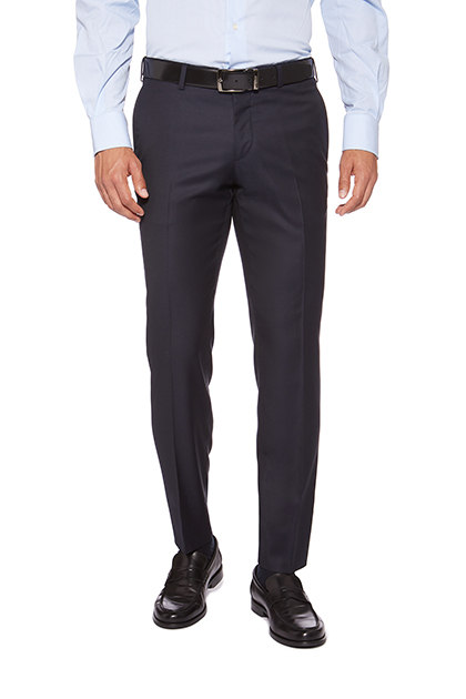 TROUSER FOR SUIT WITH 0 PINCE IN SUPER 130 PURE WOOL, Navy Blue, medium